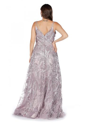Pierre Cardin Payetli Askılı Prenses Abiye Elbise Mor